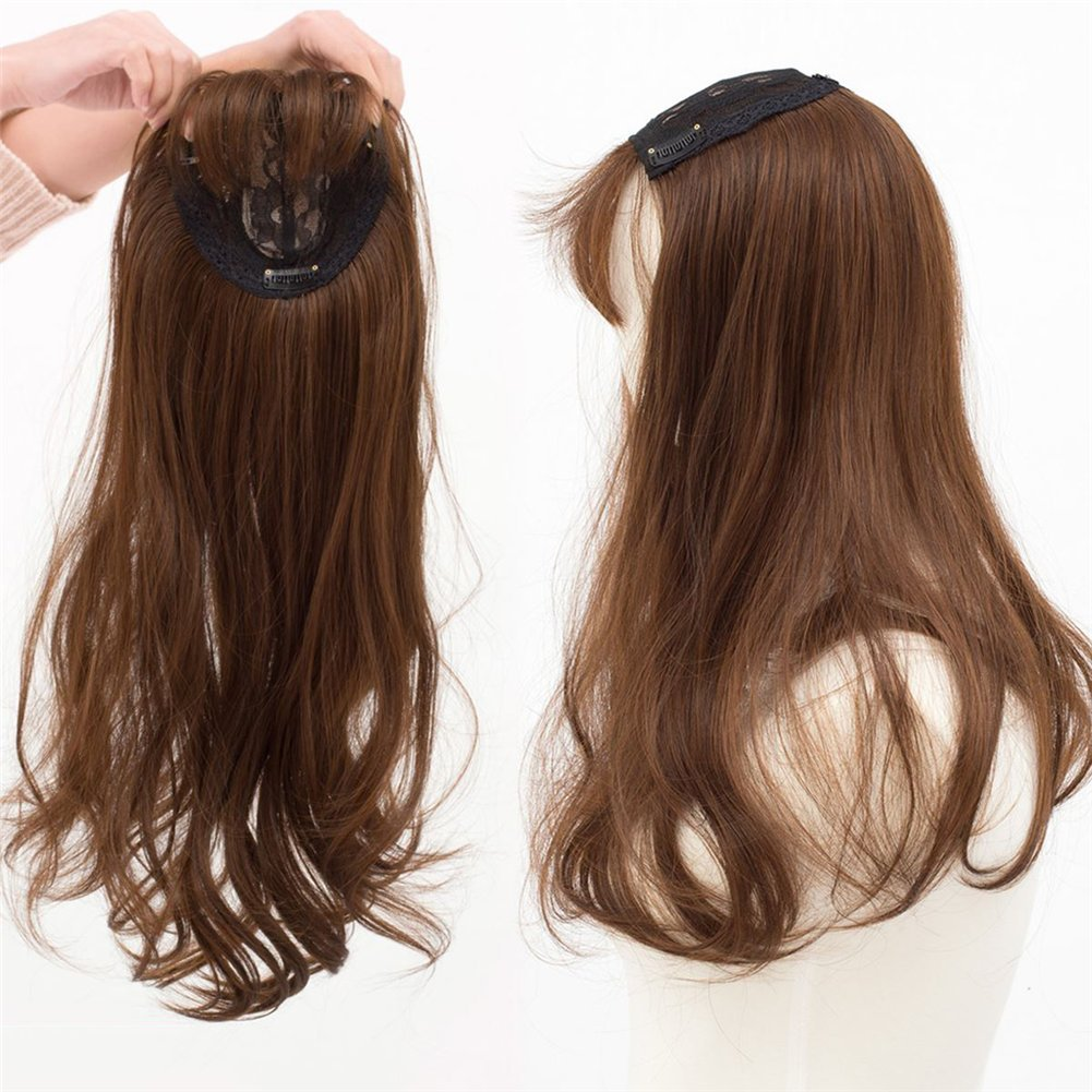 22 Long Wavy Clips in Top Hairpieces with Mini Air Bangs Synthetic Hair Toppers for Women (Light Brown) Yudit