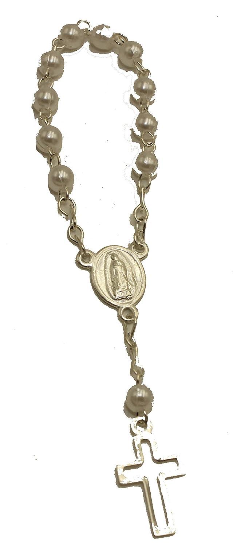 Diamantados of Florida 48pc Mini Rosary Christening Comunion Party Favor Silver Plated Pearl Decenario