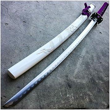 Amazon.com : White Purple Dragon Japanese Samurai Sword ...