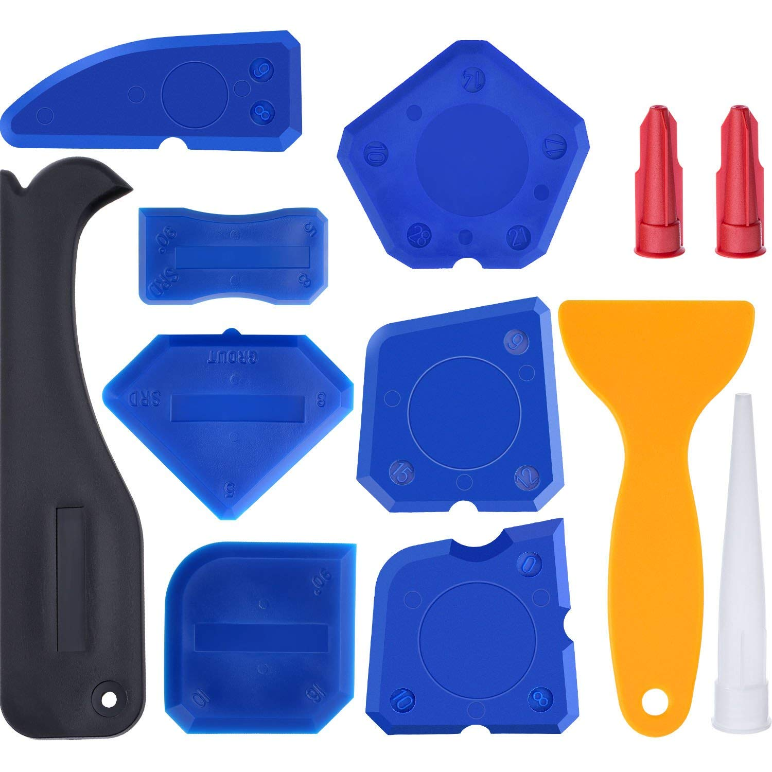 Caulking Tool Kit Silicone Sealant Finishing Removal Tool with Grout Silicone Scraper Caulk Remover and Caulk Nozzle and Caulk Caps Set for Bathroom Kitchen Room 12 pcs (blue)