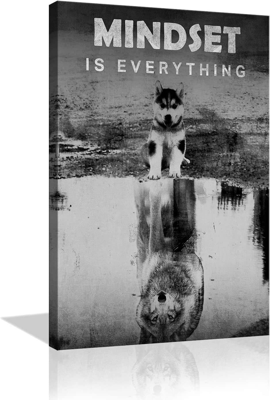 Inspirational Canvas Wall Art Mindset is Everything Entrepreneur Quotes Poster Dog Wolf Painting Prints Motivational Wall Decor for Office Gym Living Room Framed Ready to Hang