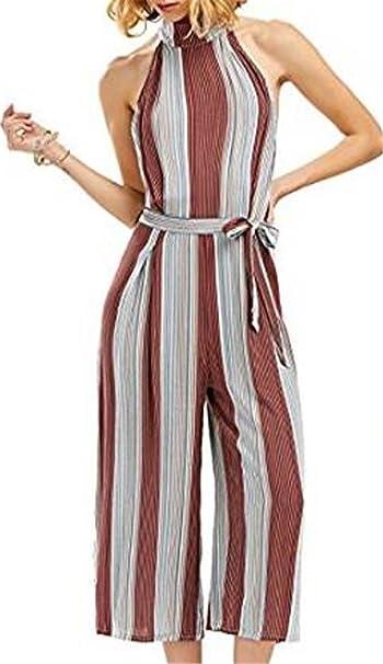 535b12d4539 NANYUAYA Women Stripe Sleeveless Wide Leg Jumpsuit Halter Neck Romper  Playsuit Size XL (Red)