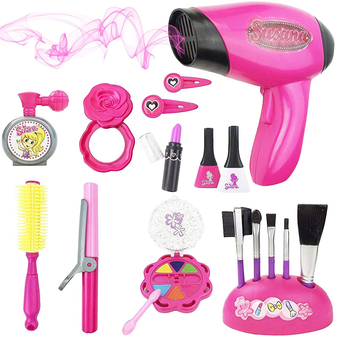 Liberty Imports Stylish Girls Beauty Stylist Set - Complete Play Pretend Hair Salon Station Gift Playset with Toy Blow Dryer, Curler, Mirror, Make Up & Other Styling Tools (18 Pieces) by Liberty Imports
