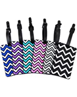 yueton 6pcs Colorful Wavy Stripe Pattern Rubber ID Tags Business Card Holder for Luggage Baggage Travel Identifier