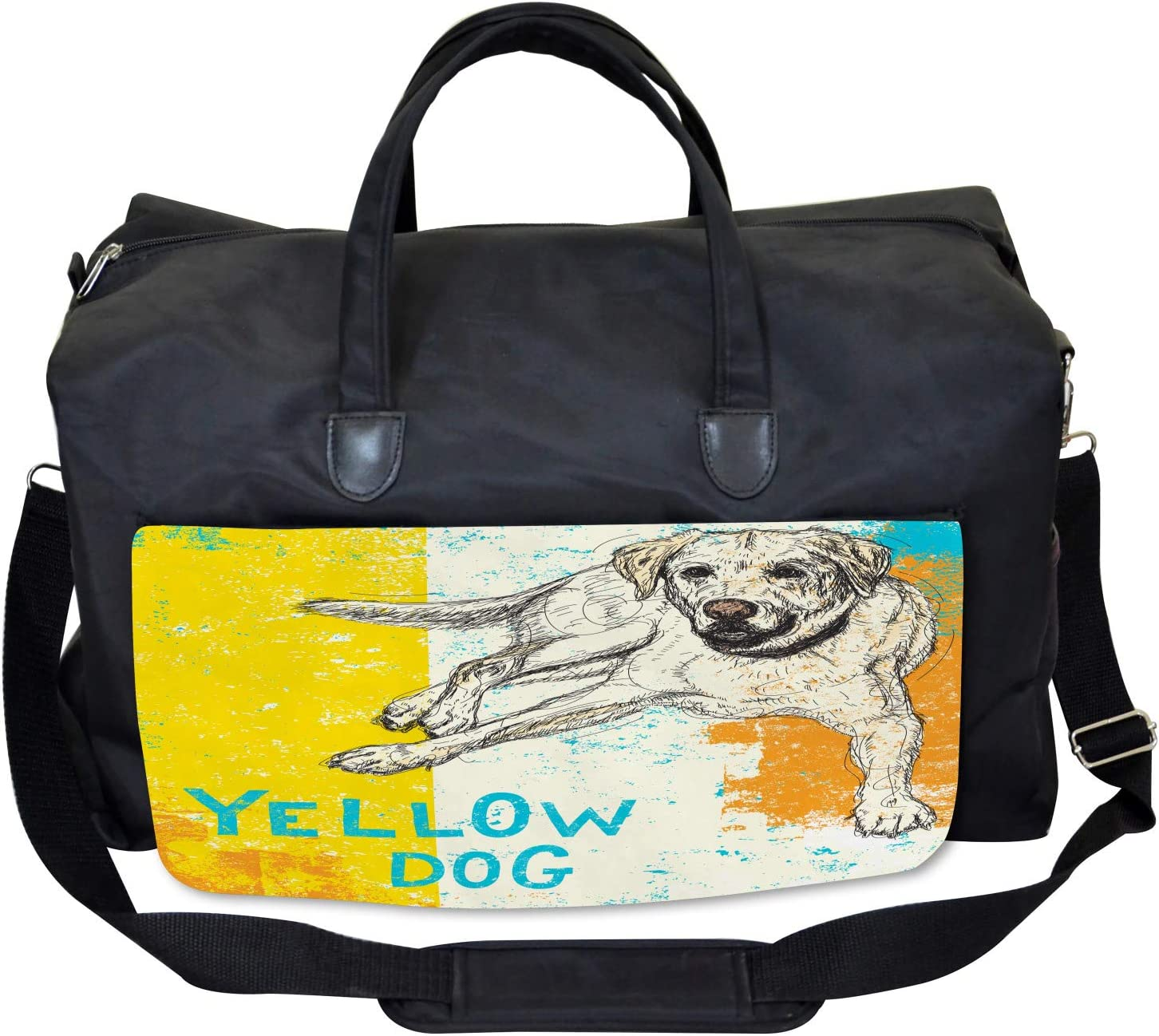 Large Weekender Carry-on Ambesonne Animal Gym Bag Grunge Sketch Dog Art