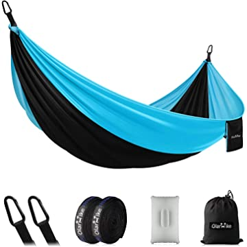 OlarHike Single Double Camping Hammock, Lightweight Portable Nylon Swing Hammocks with Tree Straps, 500lbs Capacity Hammock for Outdoor Indoor Backpacking Travel Beach Garden Yard