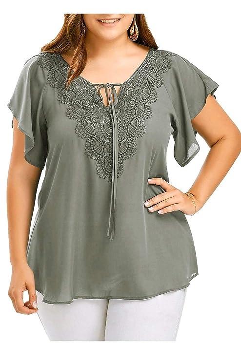FuweiEncore Camiseta de Manga Corta para Mujer Talla Grande Blusa con Gasa Tops (Color :