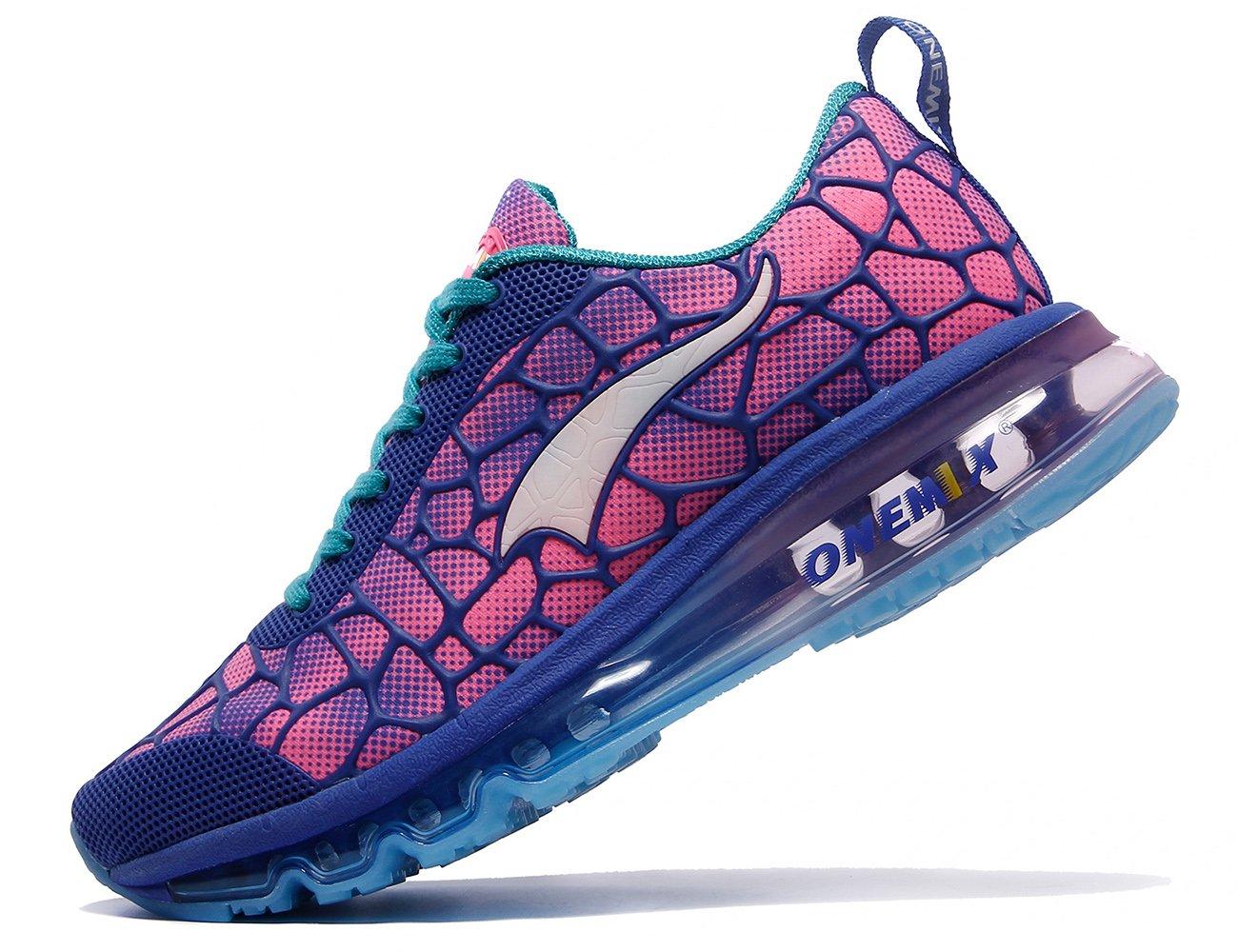 ONEMIX Women's Air Cushiong Running Shoes,Lightweight Sport Athletic Sneakers B07BGWZRLF Men 6.5(M)US 39EU/women 8(M)US 39EU|Blue/Red