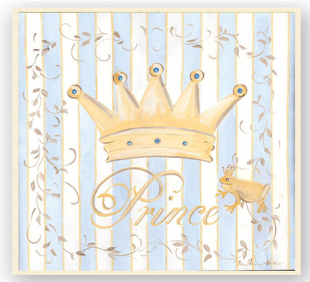 The Kids Room by Stupell Gold Crown with Blue and White Stripes Square Wall Plaque by The Kids Room by Stupell
