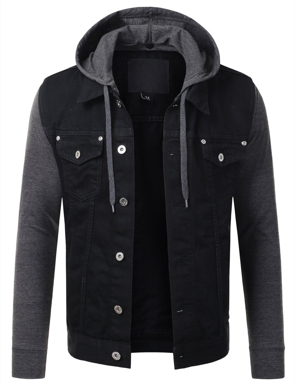 URBANCREWS Mens Hipster Hip Hop Button Down Hooded Denim Jacket Black Small