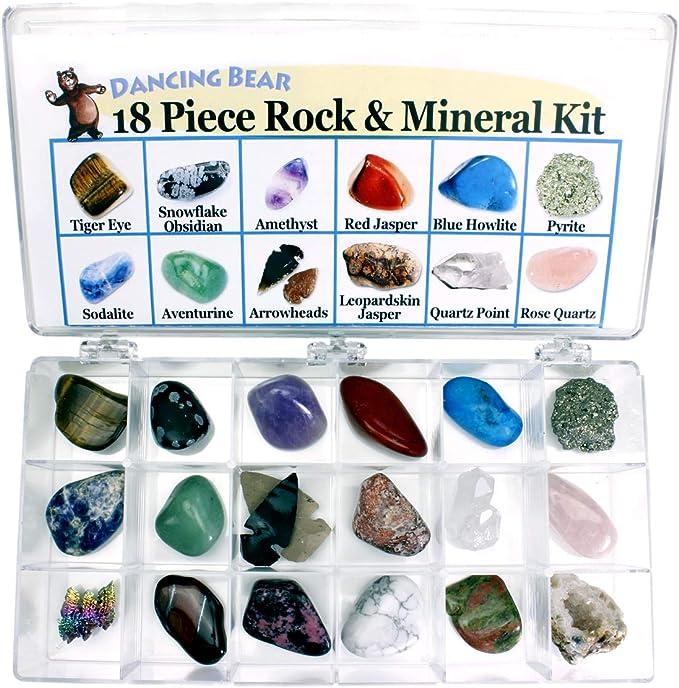 Dancing Bear Rocas y minerales colección Educación y colección de la Caja -18 Pieza con Hoja de Descripción y educación. Edición Limitada, la geología de la Gema Kit para niños con Vitrina: