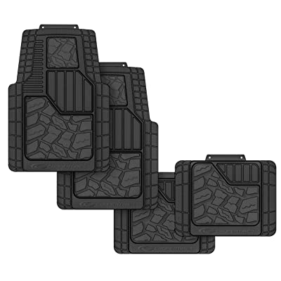 Cooper Tires Discoverer STT Pro All Weather Rubber Floor Mat, 4-Piece, Tire Tread Design, Trim-To-Fit, Heavy Duty, Waterproof, Fit For Most Cars, Trucks, SUVs and Vans (black): Automotive