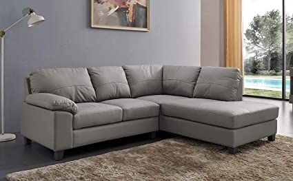 Serenity New Modern Cheap Grey Real Genuine High Grade Leather Corner Sofa With Chaise (Right Hand Facing): Amazon.co.uk: Kitchen & Home