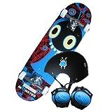 "28"" Kids Monster Skateboard Set Including Board, Knee & Elbow Pads & Helmet (Free Backpack)"
