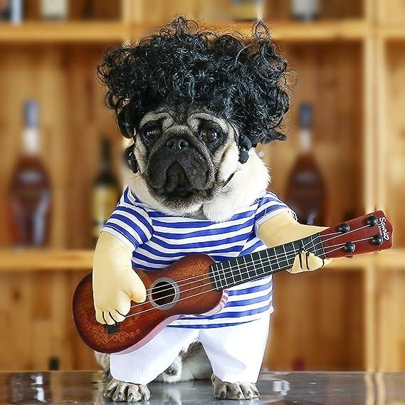 Idefair Disfraces Guitarra Divertidos para Perros Ropa para Mascotas Ropa para Perros Traje para Perrito Pequeños Perros Medianos Chihuahua Teddy Pug Fiesta ...