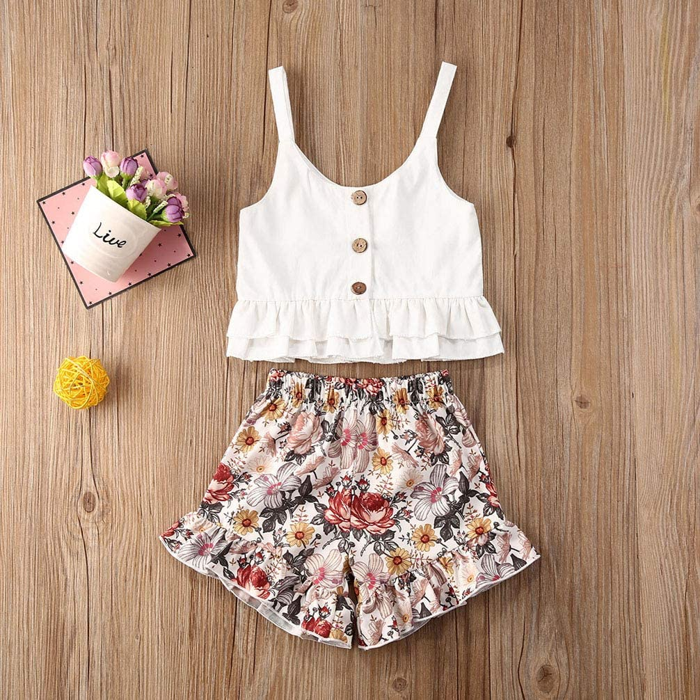 Newborn Baby Girl Summer Clothes Princess Outfit Sleeveless Ruffle Top T-Shirt and Shorts Pants Set Infant Clothes