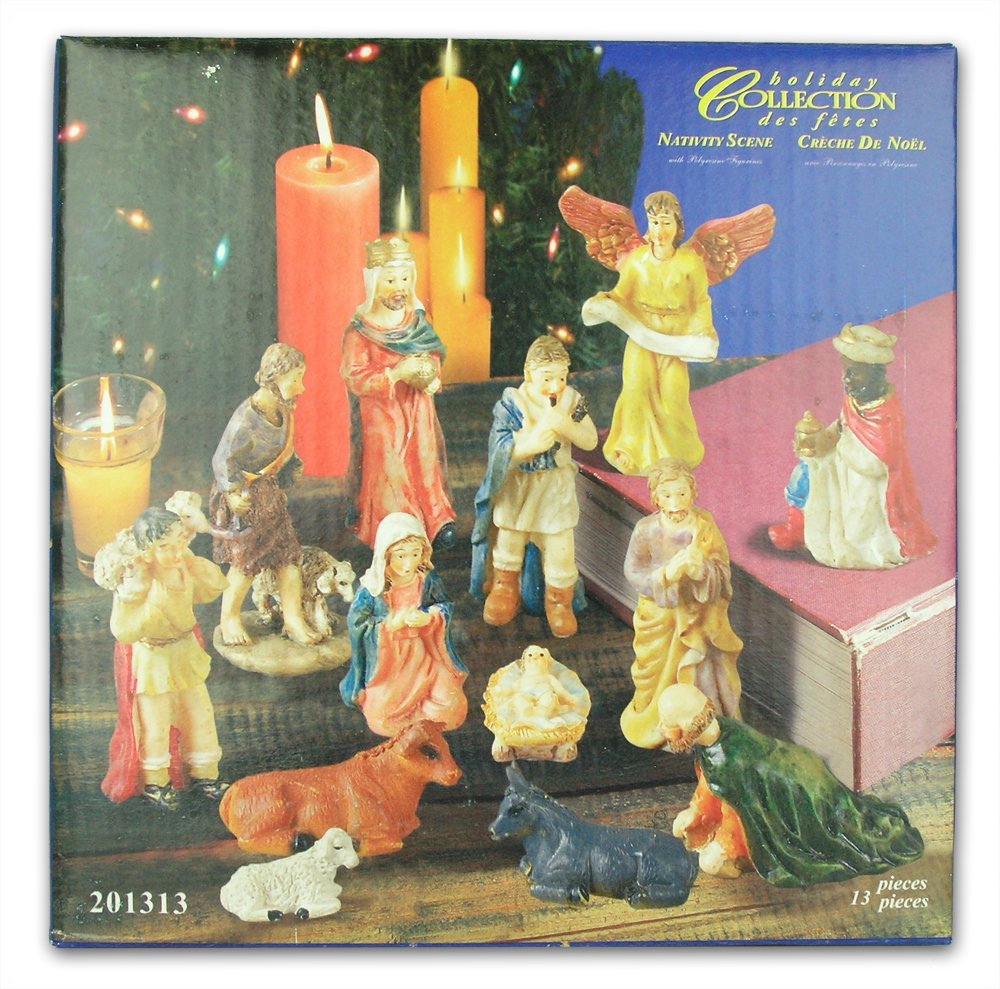 Nativity Set Figures -13 Pieces, includes Mary, Joseph, Baby Jesus in Manger, Angel, Wisemen, Shepherds, and Animals by Banberry Designs (Image #2)