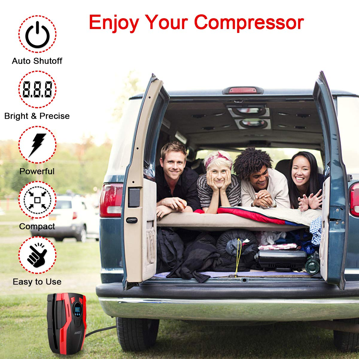 ANNSO Air Compressor Tire Inflator,Car Tire Pump Air Pump for Car Tires, 12v Digital Car Tire Inflator with Gauge LED Light,150 PSI Portable Air Compressor for Car Tires Other Inflatables by ANNSO (Image #2)