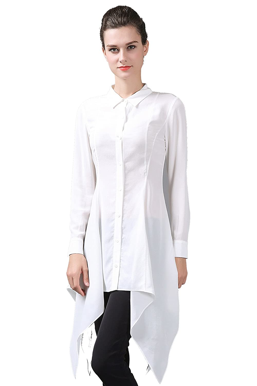 VOA Women's Silk Slim Fit White Long Sleeve Shirt Top Blouse