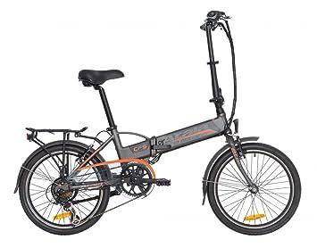 Bicicleta eléctrica plegable Atala e-folding, 6 velocidades, color antracite-arancione mate