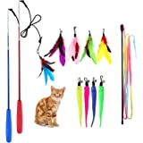 M JJYPET Retractable Cat Wand Toys,12 Packs Interactive Cat Feather Toy,9 Assorted Teaser Refills with Bell for Cat…