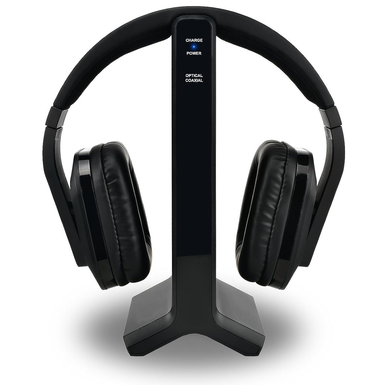 Auriculares inalámbricos de TV 2.4G Auriculares Hi-Fi de alta fidelidad digital, Auriculares inalámbricos de TV con transmisor de RF Conexión óptica y ...