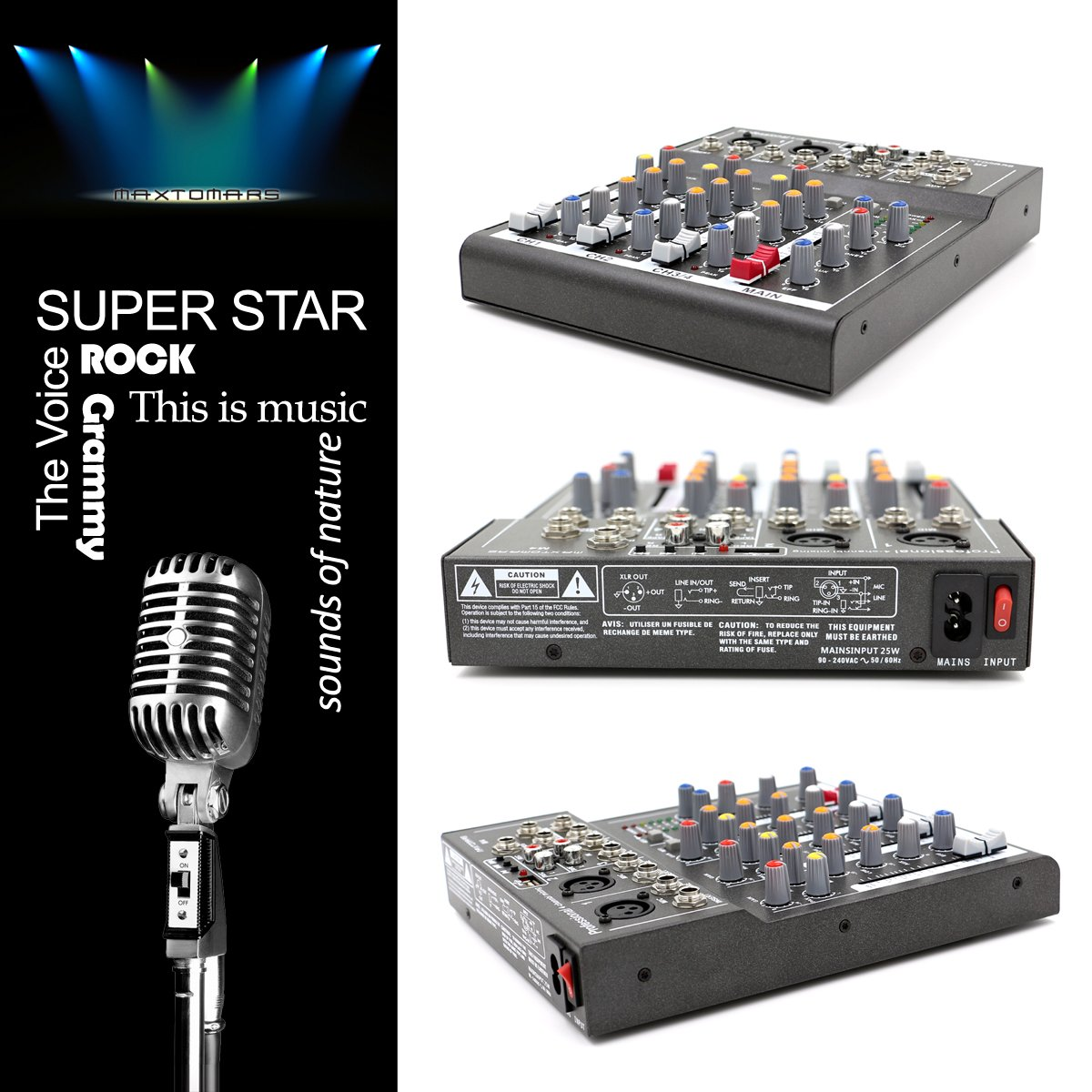 Maxtomars M4 4 Channel Mixer With Usb Input Mic Line Audio Circuit Professional Mixing Console Musical Instruments