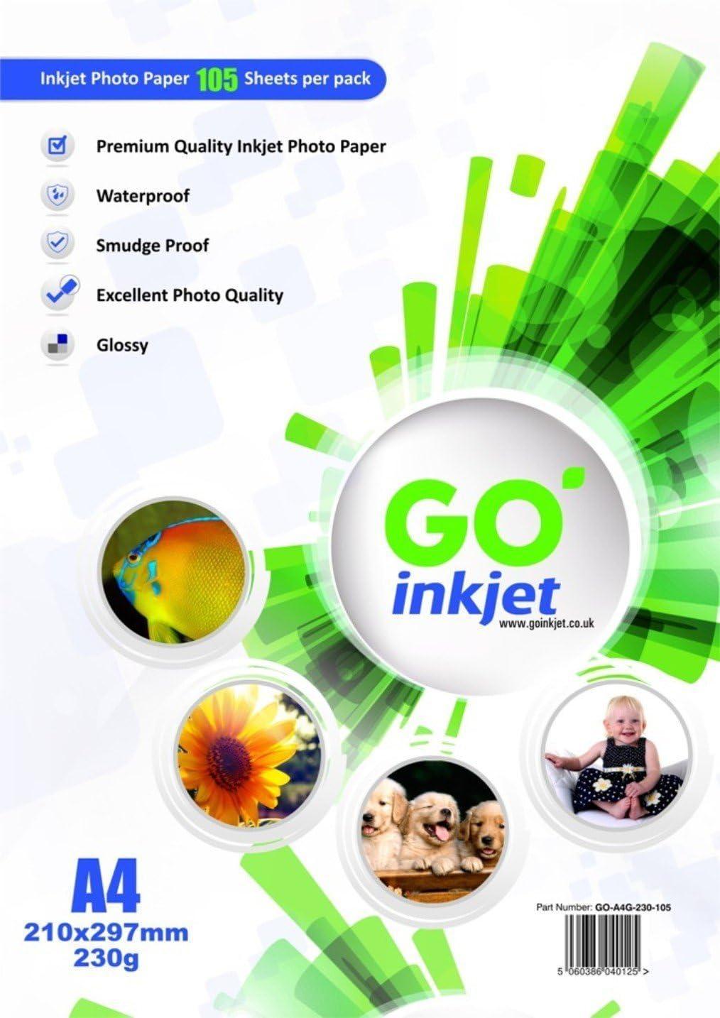 GO Inkjet - A4 230g/m Papel fotográfico para impresora fotográfica ...
