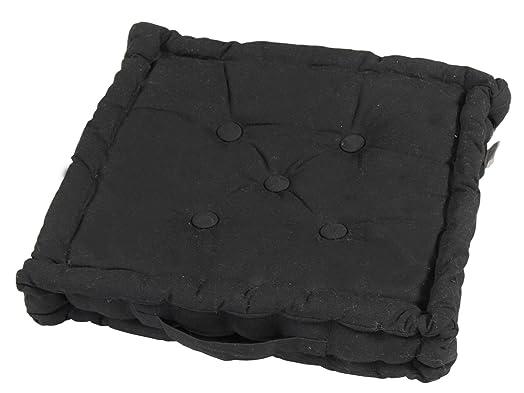 homescapes plain black 100 cotton large floor cushion 50 x 50