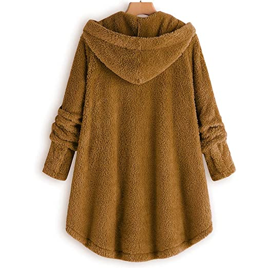 Amazon.com: Womens Hooded Coats Plus Size Winter, Jiayit Women Button Coat Fluffy Tail Tops Hooded Pullover Hoodies Loose Sweater Blouse: Sports & Outdoors