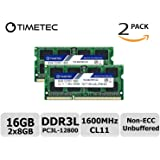 Timetec Hynix IC 16GB Kit(2x8GB) DDR3L 1600MHz PC3L-12800 Non ECC Unbuffered 1.35V CL11 2Rx8 Dual Rank 204 Pin SODIMM Laptop Notebook Computer Memory Ram Module Upgrade(16GB Kit(2x8GB))