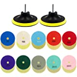Tanzfrosch 12 Pack 4 inch Diamond Polishing Pads Set Wet/Dry Polishing Kit 10pcs 50#-3000# Grit Pads with 2pcs Hook and Loop Backer Pads for Granite Stone Concrete Marble Floor Grinder or Polisher