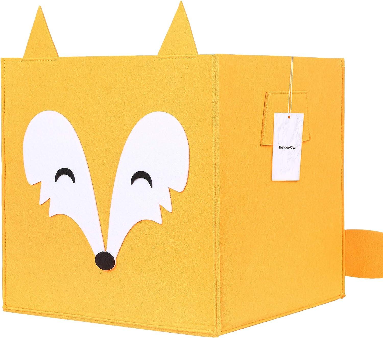 Small Felt Storage Basket with Handles, Foldable Storage Bin Organizer for Shelf Bedroom Closet Toys Laundry, Orange (11.8 inch x 11.8 inch x 11.8 inch)
