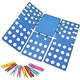 Ohuhu Clothes Folder with Towel Clips - Adult Dress Pants Towels T-shirt Folder / Shirt Folder/ Laundry Folder Board Organizer, Blue