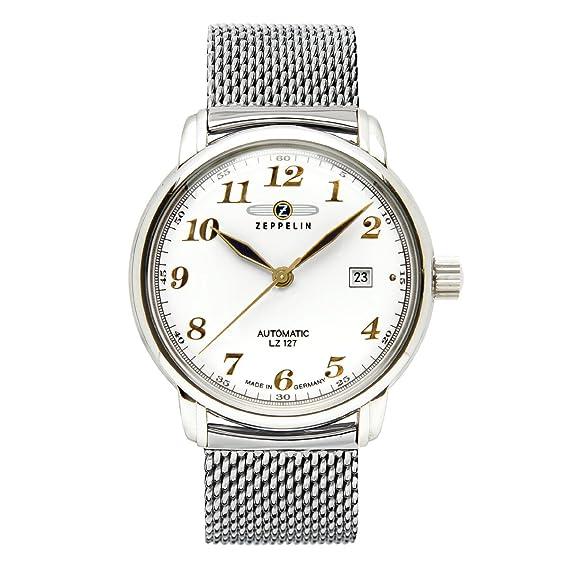 Zeppelin Watches - Reloj analógico automático para hombre con correa de acero inoxidable