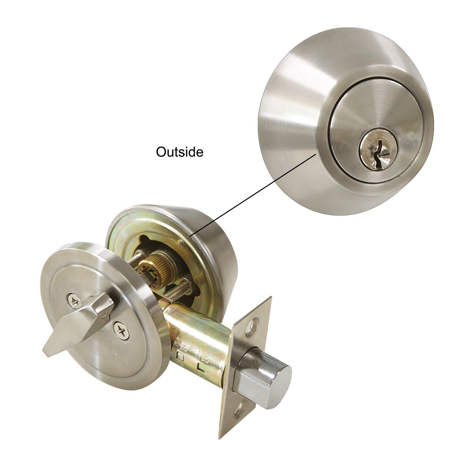 3 Pack Probrico Interior Bedroom Single Cylinder Deadbolt One Keyway Keyed Alike Same Key Safety Bolt Door Lock Lockset in Satin Nickel-Single Deadbolt-101 by Probrico (Image #4)