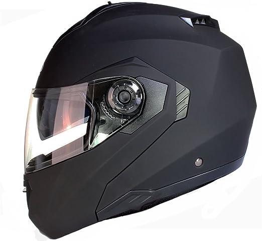 124 opinioni per Casco MODULARE per Moto con Integrale Doppia Visiera- Nero Opaco- M (57-58cm)