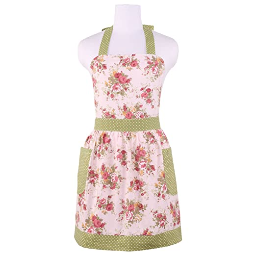 Old Fashioned Aprons & Patterns Neoviva Cotton Canvas Kitchen Apron for Women with Pocket Floral Quartz Pink $16.99 AT vintagedancer.com
