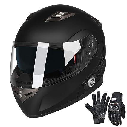 0d53730a Amazon.com: Bluetooth Motorcycle Helmet Modular Full Face Helmets DOT  Approved Helmet with Wireless Intercom Headsets for Men Women(Matte Black,  ...