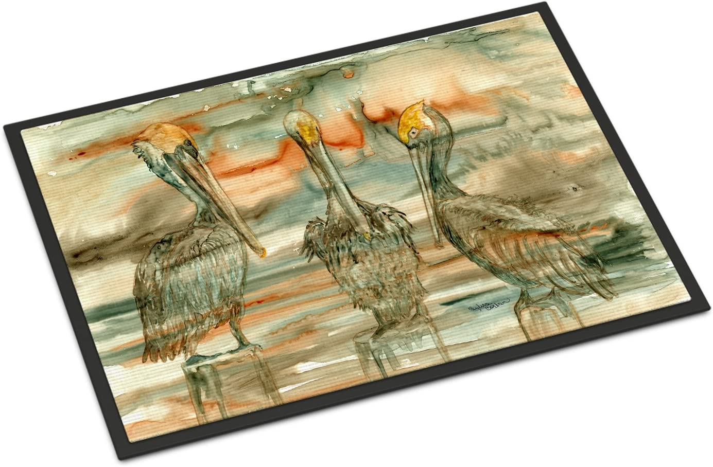 Caroline s Treasures 8980MAT Pelicans on Their Perch Abstract Indoor or Outdoor Mat 18×27, 18H X 27W, Multicolor