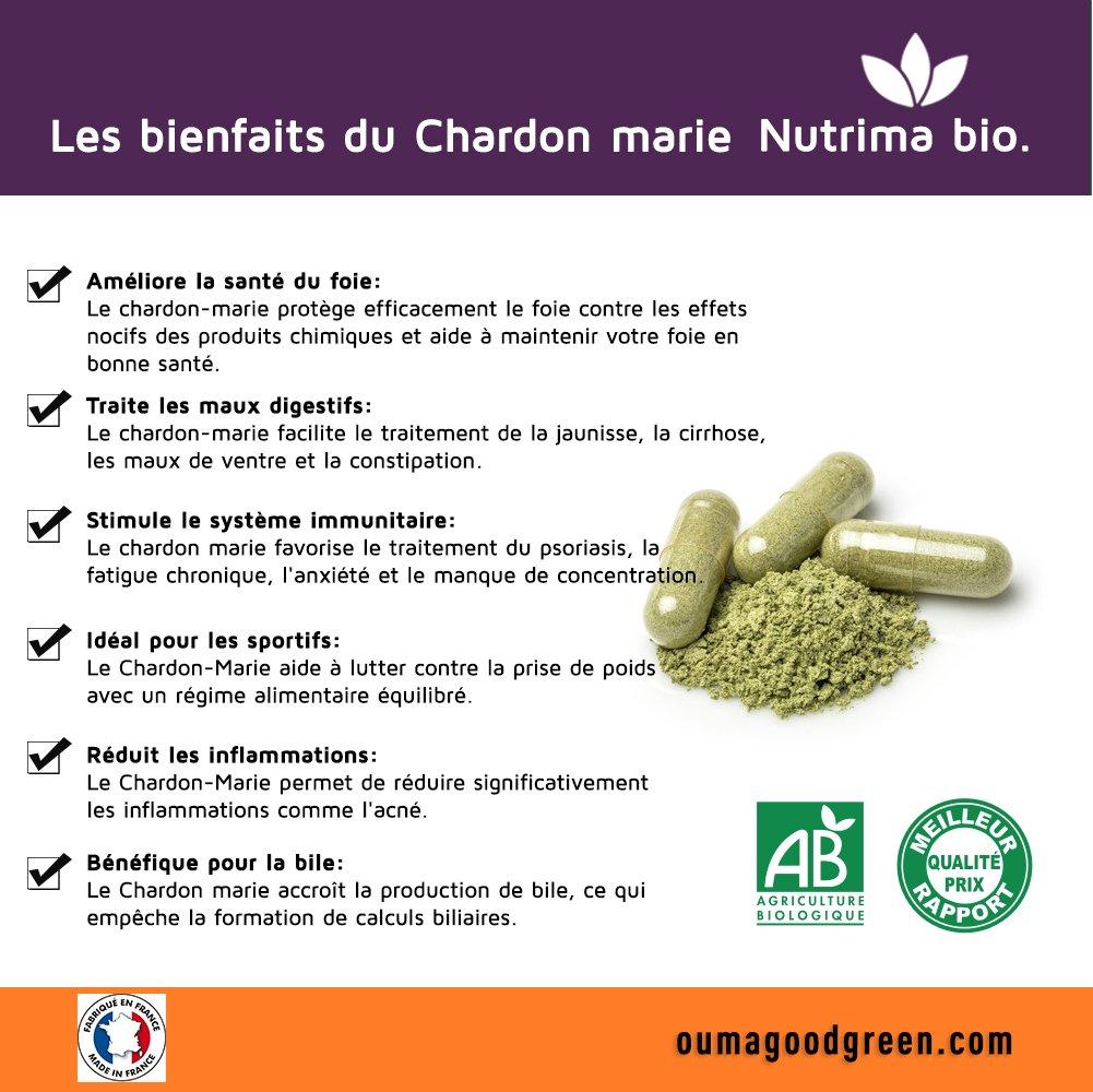 Nutrima Bio - Cardo mariano orgánico 90 cápsulas de Nutrima Bio- 80% de extracto de silimarina: Amazon.es: Salud y cuidado personal