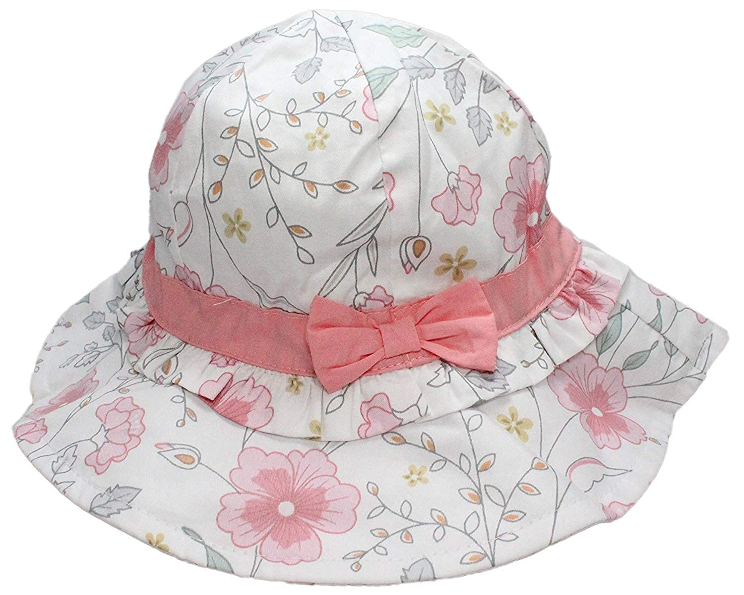 540f46194 Ruhi Kids Girls Pink 2-Tier Flower Bow Bucket Sun Hat with Chin Strap Age 1  2 3 4 5