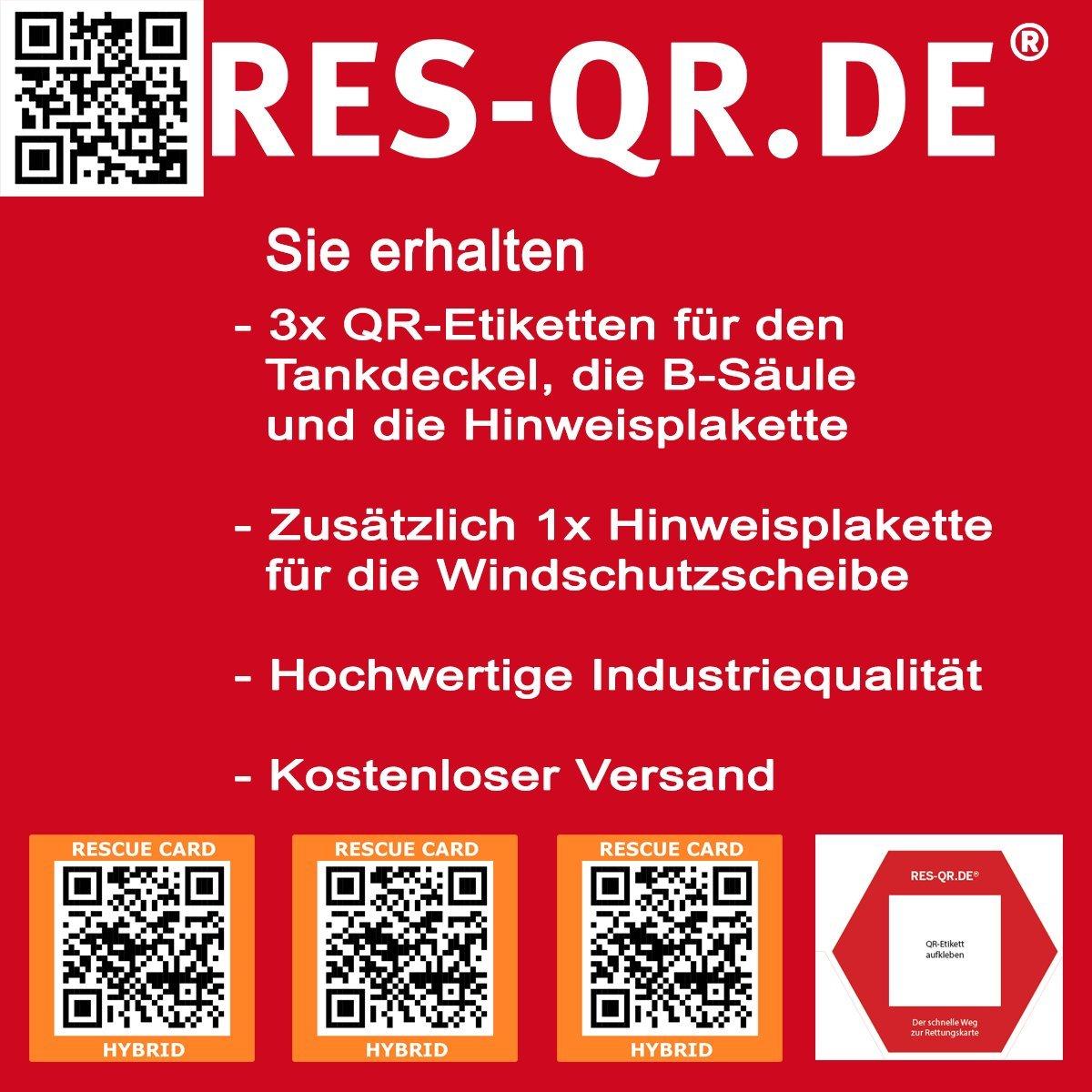 Mitsubishi Outlander CWO ab 2013 QR-Etiketten-Nachr/üst-Satz f/ür Zugang zur digitalen Rettungskarte 3 Etiketten plus Hinweisplakette