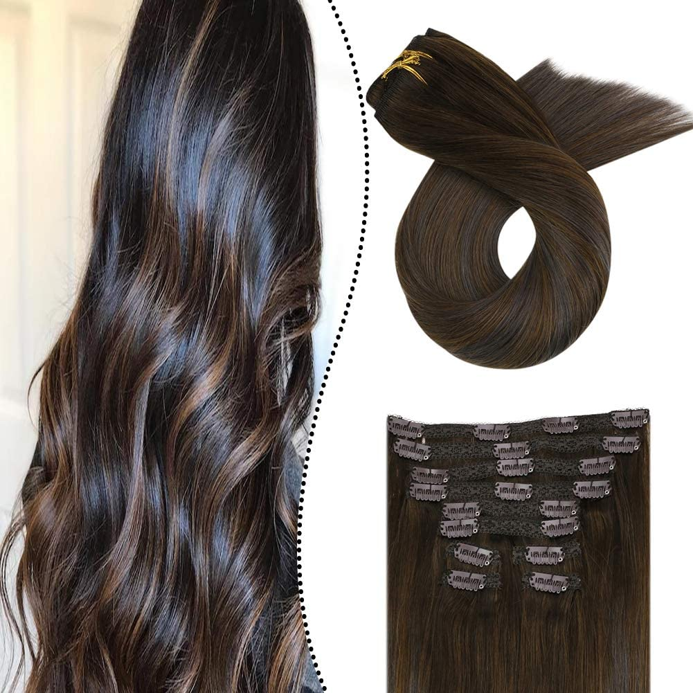 Ugeat 120g/10pcs Extensiones de Clip de Cabello Natural 16 ...