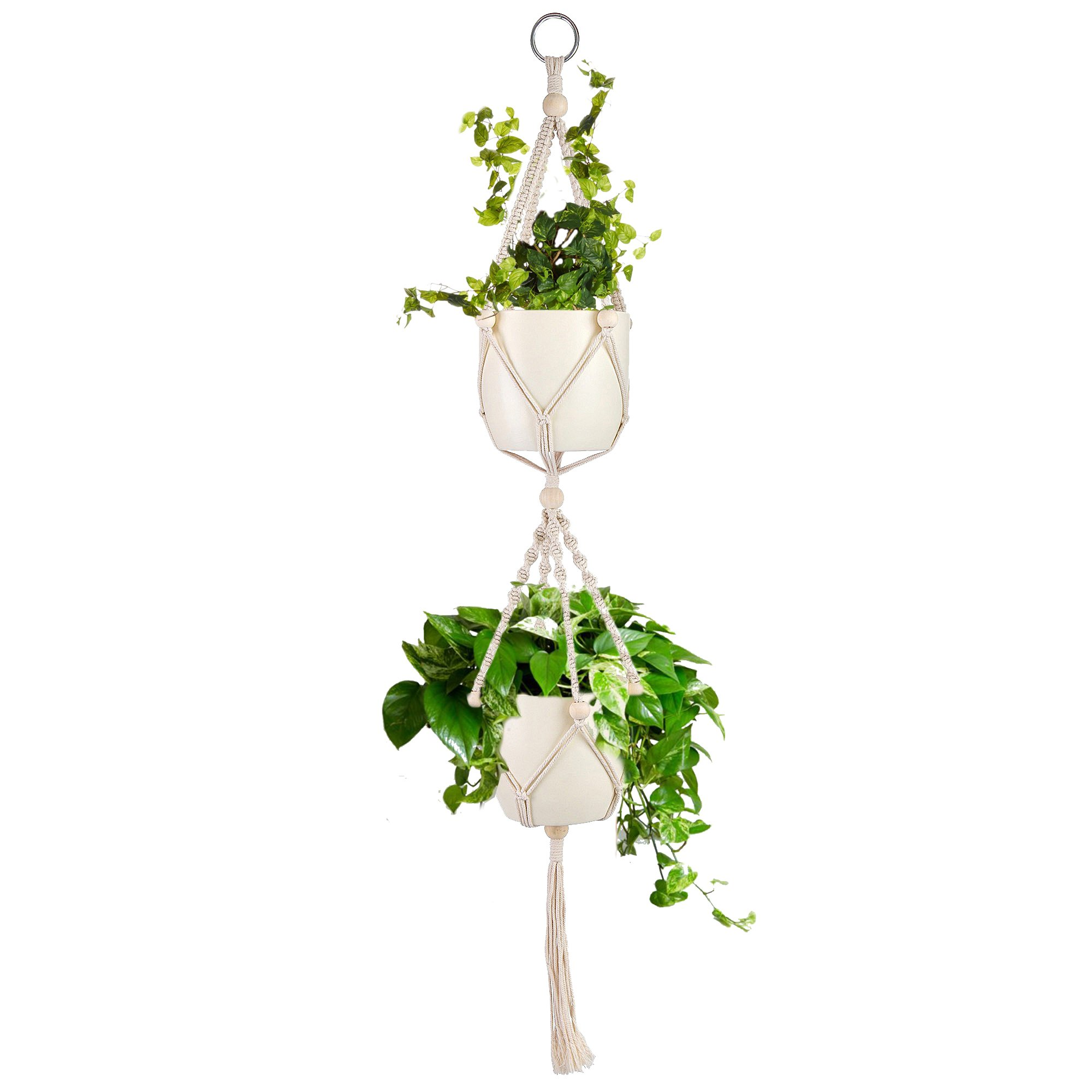 One Alpha Double Macrame Plant Hanger with Beads | Indoor & Outdoor Hanging Plant Basket | Plant Holder | 43 inches, 1.1 metres by One Alpha