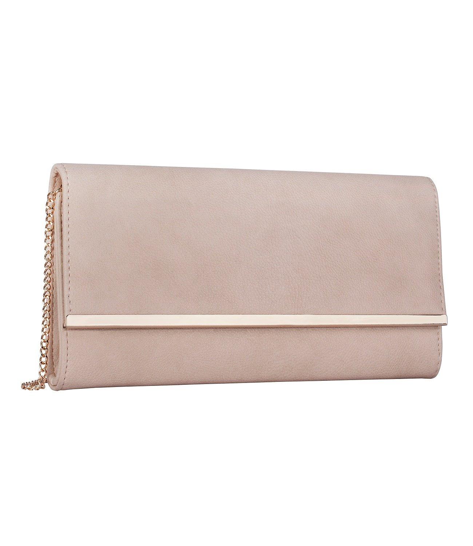 SIX Damen Handtasche, Rosa Clutch Umhängetasche in Lederoptik, goldene Schulterriemen (427-630)