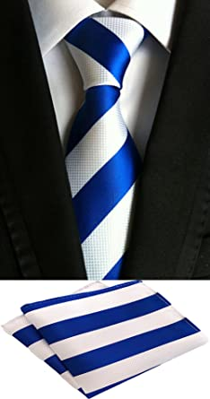 MOHSLEE Mens Striped Formal Suit Tie Handky Wedding Necktie /& Pocket Square Set