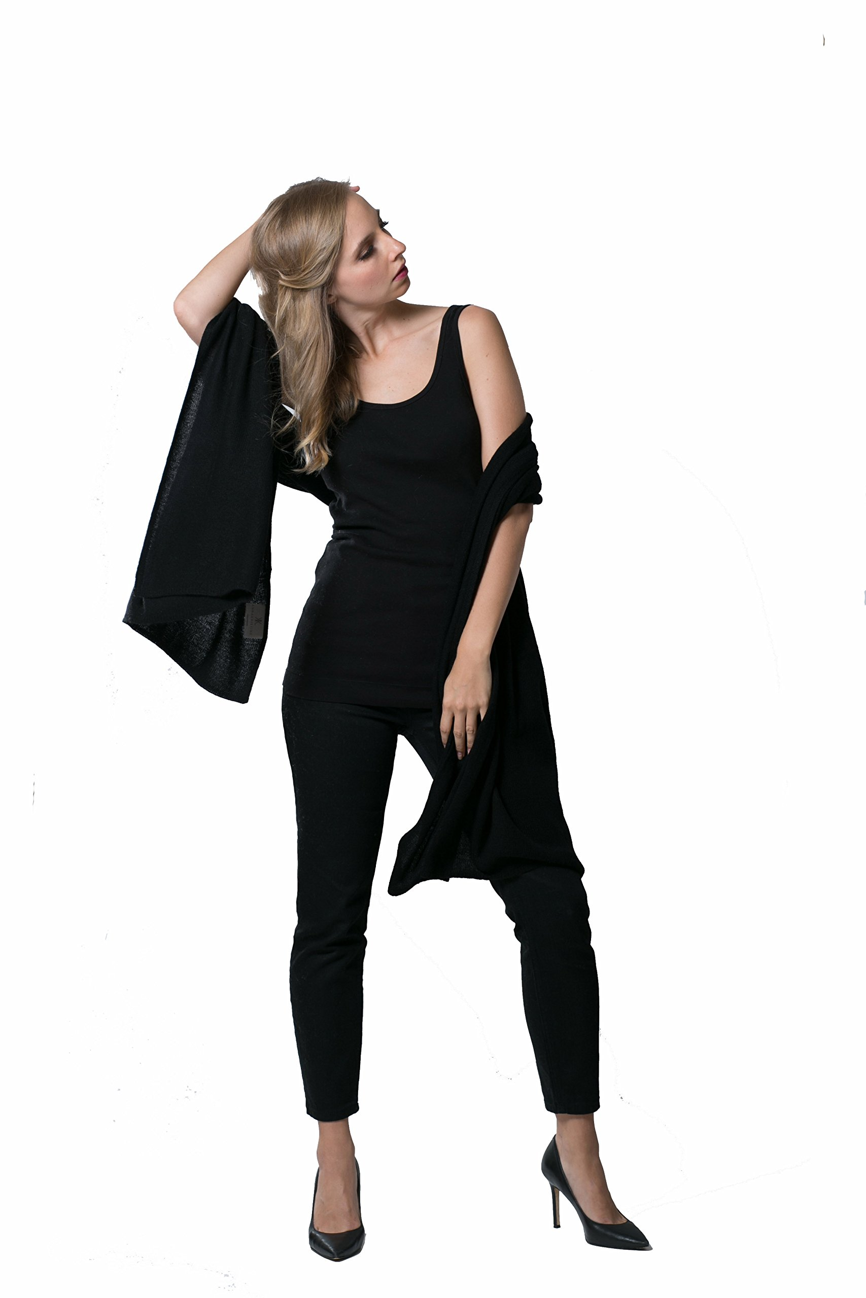 Super Soft Oversized 100% Cashmere Travel Blanket Scarf Wrap - Obsidian Black by Anna Kristine