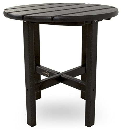 POLYWOOD RST18BL Round 18 Side Table, Black