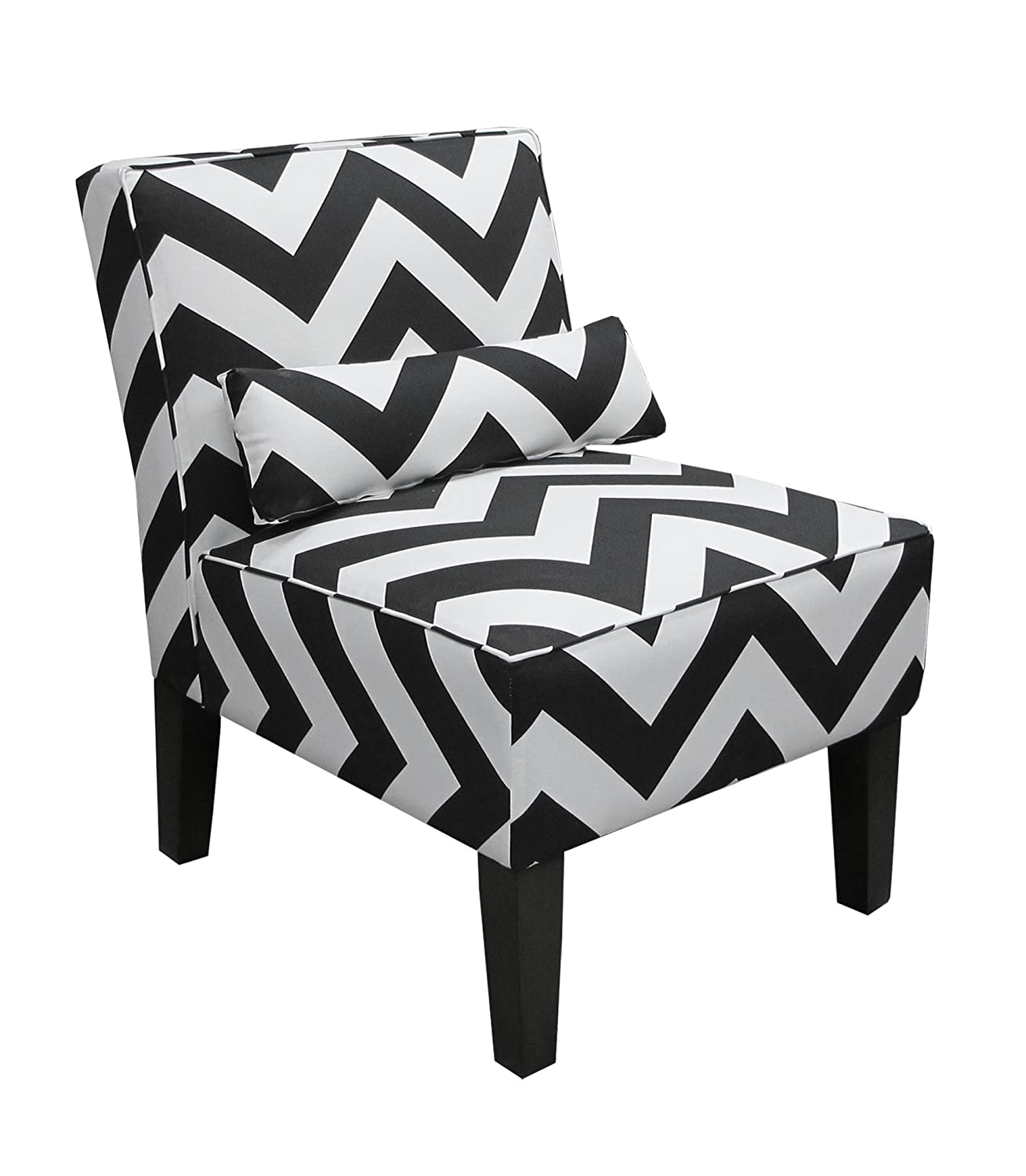 Amazon Skyline Furniture Armless Chair in Zig Zag Black and